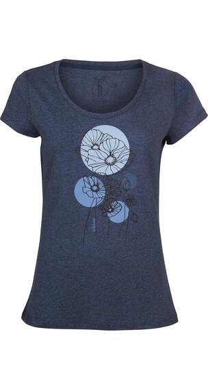 Elkline Flowerpower Shortsleeve Shirt Women Bluemelange